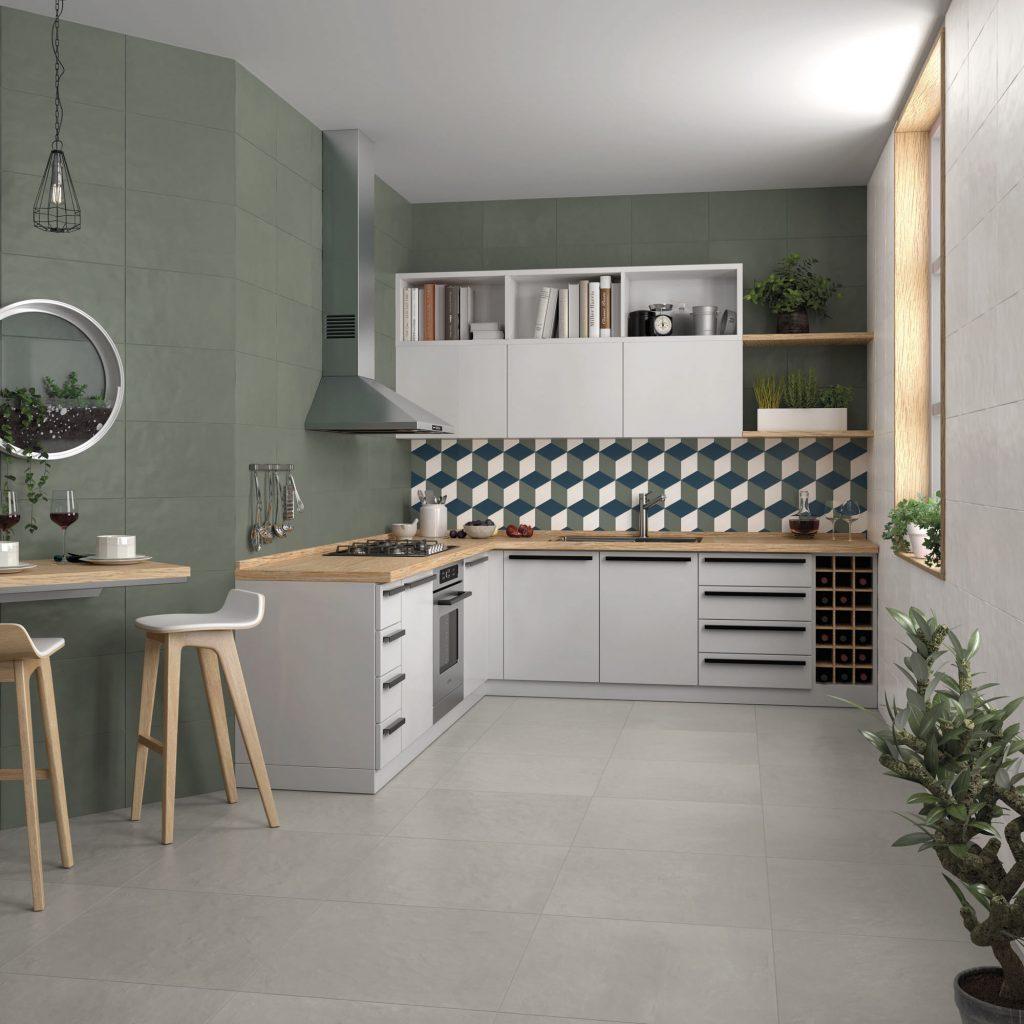 livin olive green luna grey tiles