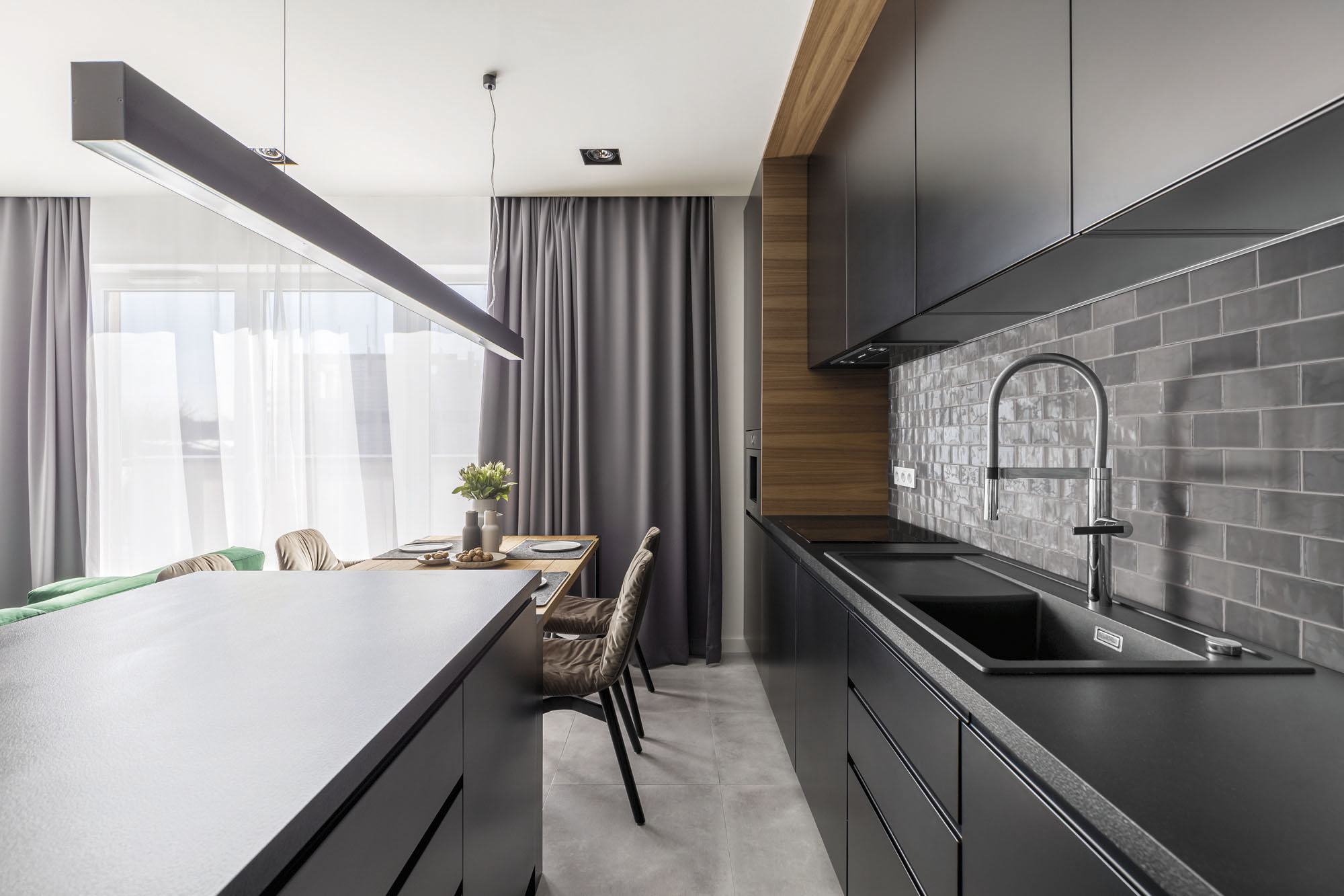 Kitchen interior with black cabinets
